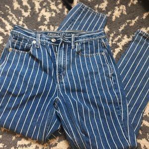 White Striped American Eagle Mom Jeans
